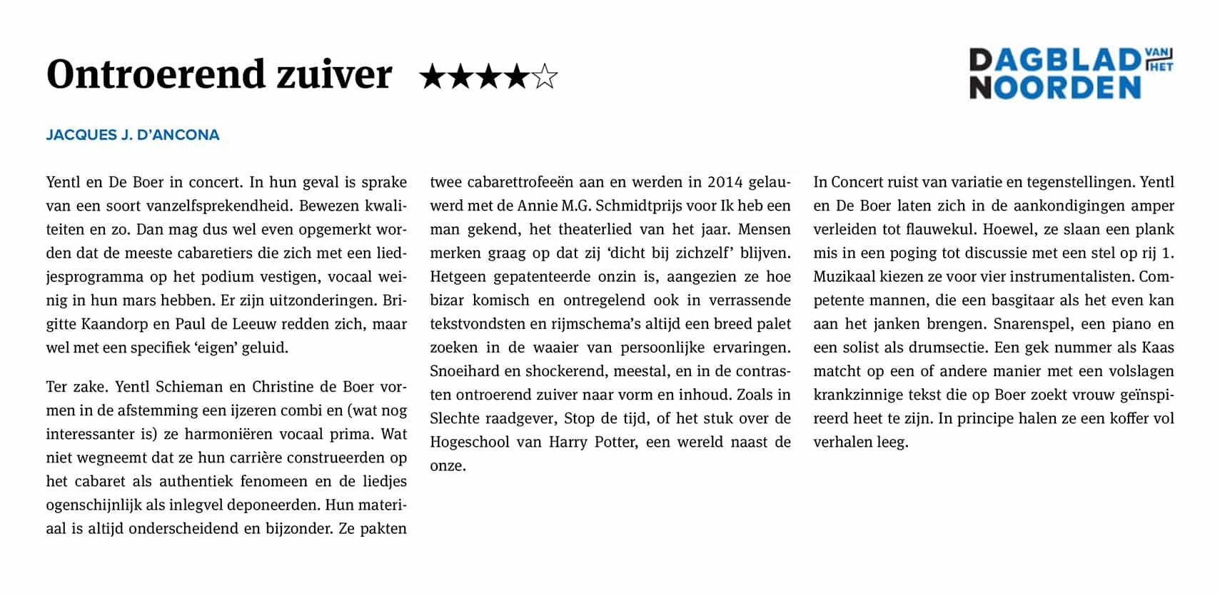 Recensie Yentl en de Boer in Concert - Dagblad van het Noorden 27 okt 2017